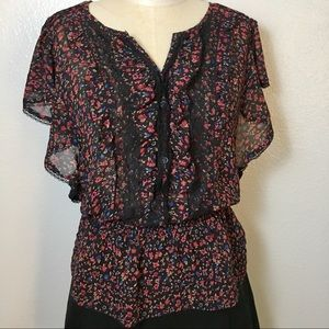 Forever 21 floral black blouse top M boho